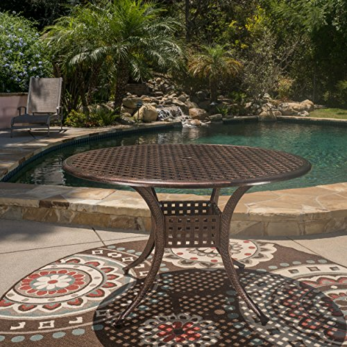Cheap GDF Studio Augusta Home Sebastian Outdoor Cast Aluminum Round Dining Table