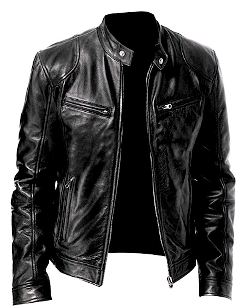 Men's Genuine Leather Jacket Cowhide/Lambskin Motorbike Casual Jacket