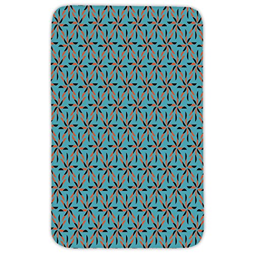 Rectangular Area Rug Mat Rug,Geometric,Soft Background and Floral Arrangement Blooming Nature Spring Season Decorative,Blue Vermilion Black,Home Decor Mat with Non Slip Backing by iPrint