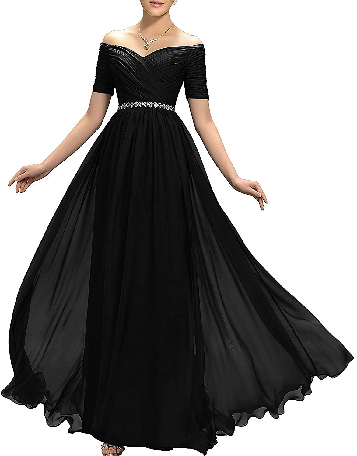 Black Womens Beaded Off Shoulder Prom Bridesmaid Dresses Maxi Formal Evening Ball Gowns