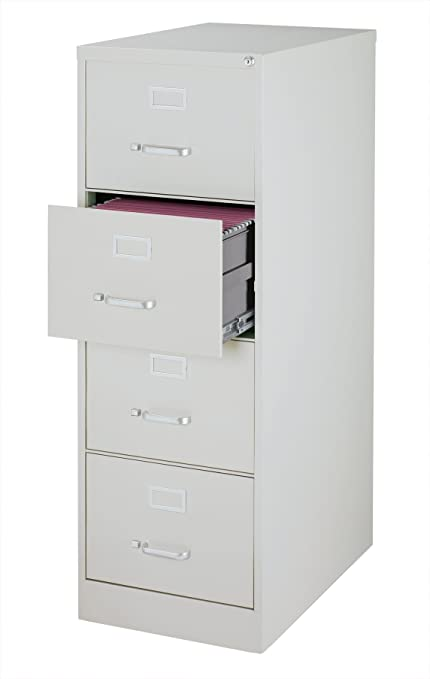 Office Dimensions Commercial 4 Drawer Legal Width Vertical File Cabinet,  26.5u0026quot; Deep   Gray
