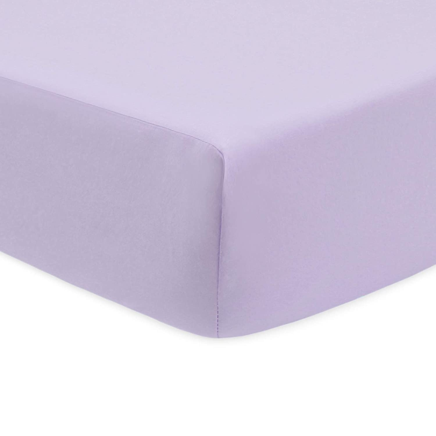 American Baby Company 100% Natural Cotton Percale Fitted Crib Sheet for Standard Crib and Toddler Mattresses, Lavender, Soft Breathable, for Girls