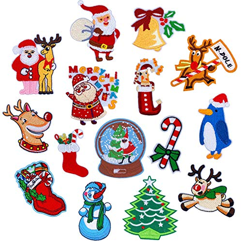 15 Pieces Christmas Sew Patches,Embroidery Sew Patches,Christmas Embroidery DIY Patches for Jackets Backpack T-Shirt Jeans Snowman Santa Claus Christmas Party Clothes Costume Applique Accessory (Christmas Embroidery Appliques)
