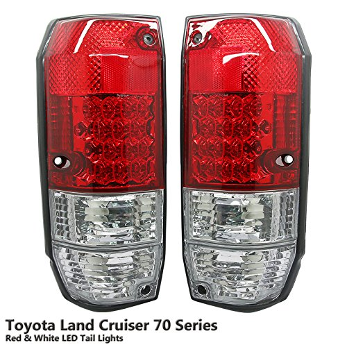1 Pair Rear Crystal Red & White LED Tail Light Lamp Fit Toyota Land Cruiser 70 75 78 4 Door 84-07 (Cruiser Land Toyota Led)