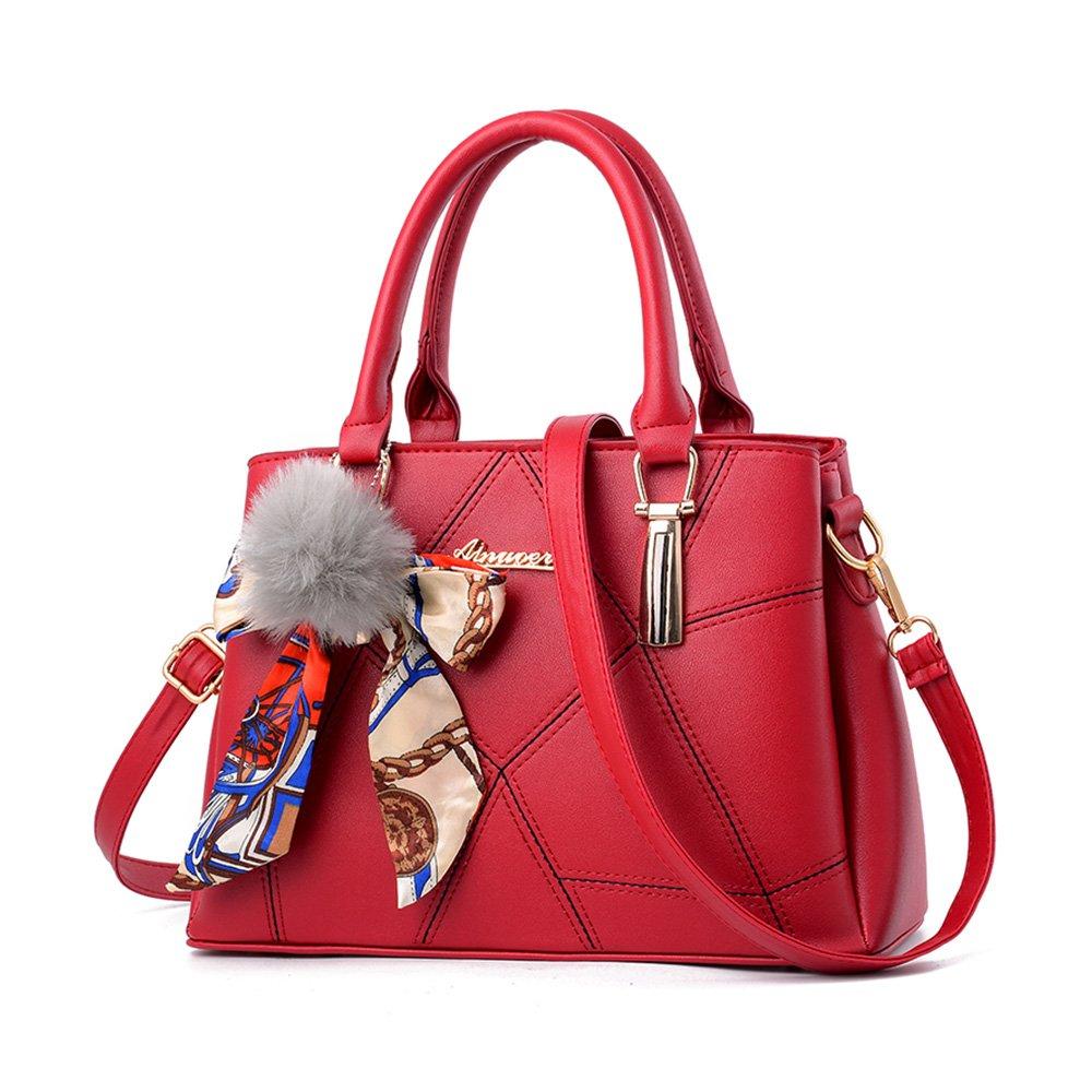 Women Designer Top Handle Handbag Tote Crossbody Shoulder Bag Pu Faux Leather Purse with Fur Ball Pom Pom,Red