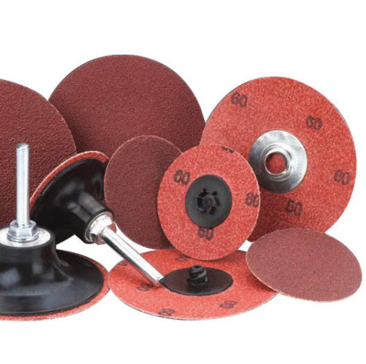 Merit 3'' X 2-Ply 320 Grit Aluminum Oxide Powerlock Maroon TS (Type II) Resin Bond Cloth Disc