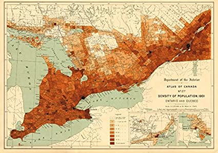 Quebec On Map Of Canada.Amazon Com Canada Population Density 1901 Ontario And Quebec