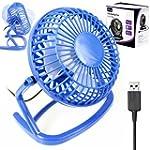 "4"" Portable Retro USB Fan - BLUE - Li..."