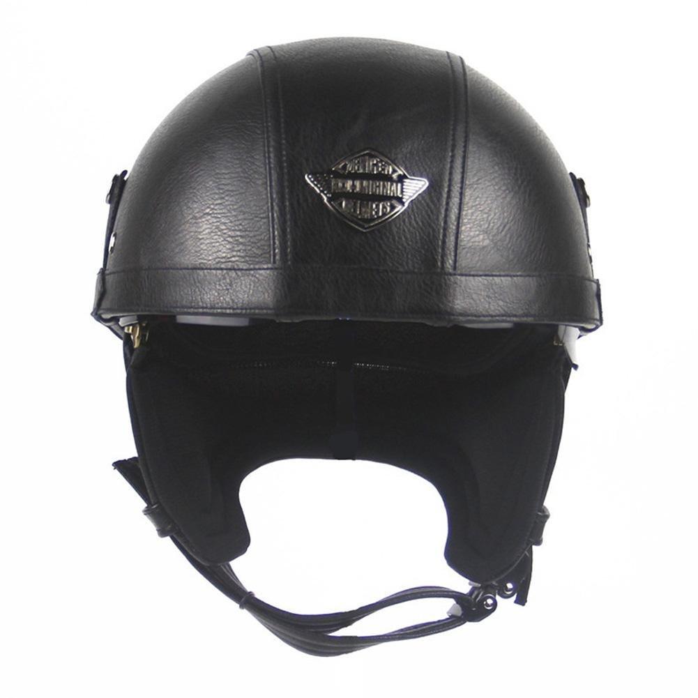 d5f85888725b5 Amazon.es  Welltobuy Hombres y Mujeres Harley Casco de la Motocicleta Casco  de la Personalidad Retro Casco de Medio Casco de Verano Casco de Cuero de  la ...