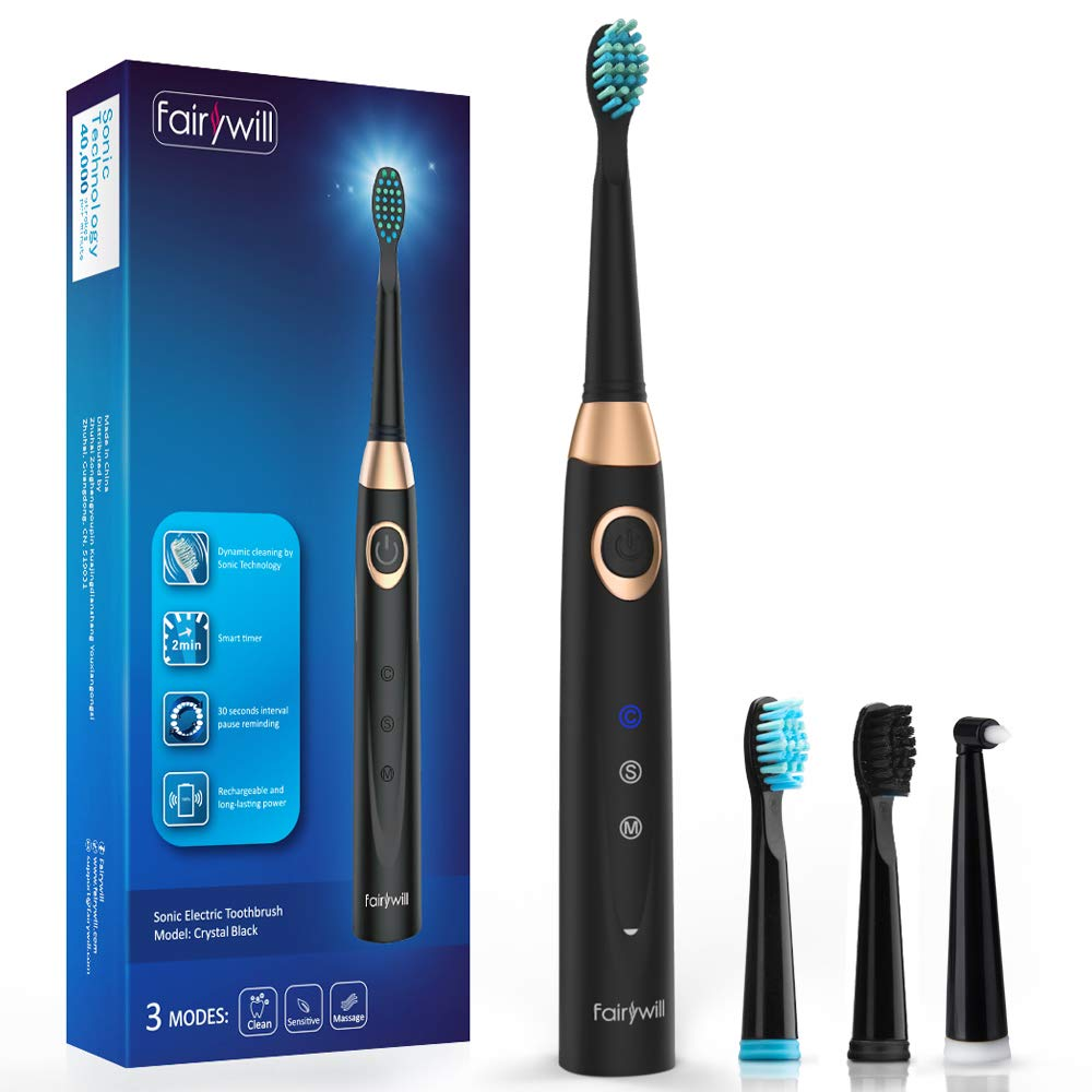 Fairywill Sonic Electric Toothbrush Black Rechargeable Toothbrush for Adults 3 Modes with 2 Min Build in Timer Dentists recommend Waterproof USB Fast Charging Model SG508