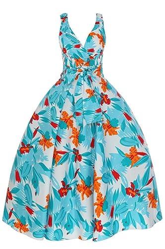 1950Vintage Donna Foglia tropicale partito vestito in stile swing Plus Size