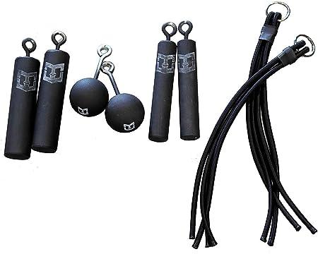 Kit de Agarre Pro Ninja – 8 empuñaduras para Colgar – 2 Cada uno: 3 Pulgadas Cannonballs, Piston Grips y Bungee Grips. Bombas de Escalada como se ve ...