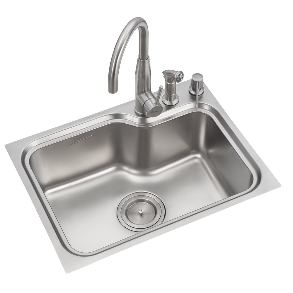 Anupam stainless steel kitchen sink ls109ss 615 x 465 x 225 mm 24 x 18 x 9 inch single bowl 304 grade satin matt finish amazon in industrial