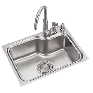 Anupam Ls109ss 304 Grade Stainless Steel Single Square Bowl Kitchen Sink 24 X 18 X 9 Inch Satin Finish Amazon In Home Improvement