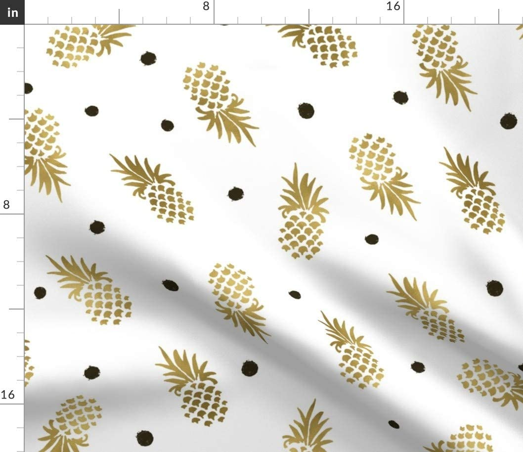 Spoonflower Fabric - Gold Pineapples Dots Large Polka Fruit Food Printed on Petal Signature Cotton Fabric by The Yard - Sewing Quilting Apparel Crafts Decor