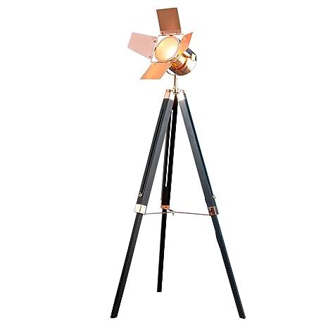 Vintage lámpara de pie Hollywood Negro Cobre 140 cm E14 ...