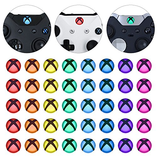 eXtremeRate Custom Home Guide Button LED Mod Stickers for Xbox One/S/Elite/X Controller with Tools Set - 40pcs in 8 Colors