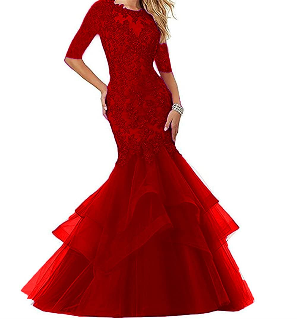 Dark Red Dydsz Women's Long Prom Evening Dresses with Sleeves Mermaid Formal Party Gowns D265