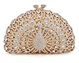 Crystal Clutch Women Gold Peacock Rhinestone Evening Bag