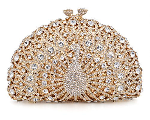 Crystal Clutch Women Gold Peacock Rhinestone Evening ()