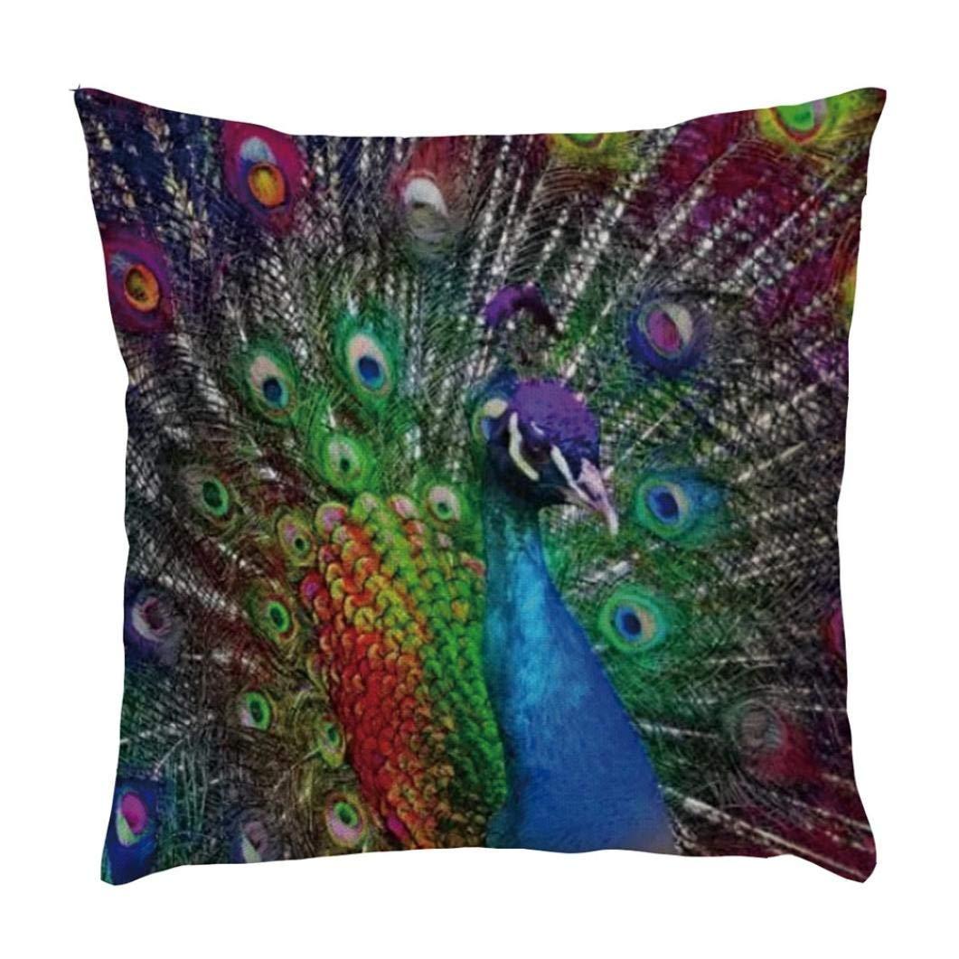 Shybuy Animal Peacock Print Throw Pillow Case Cushion Cover Home Sofa Decor Pillowcases (E, 45x45cm)