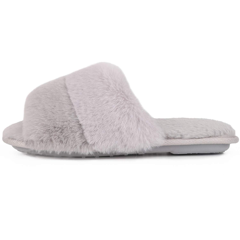 LongBay Womens Faux Bunny Fur Memory Foam House Slippers Cute Comfy Flat Slide Sandals Cozy House Shoes