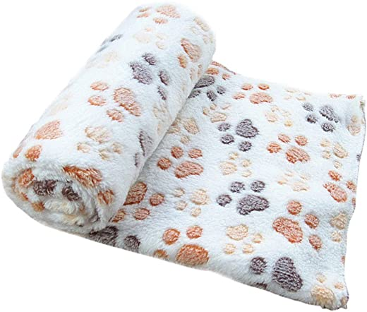 haoricu Pet Bed, Warm Pet Mat Small Large Paw Print Cat Dog Puppy Fleece Soft Blanket S, Begie