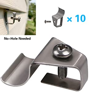 Vinyl Siding Clips Hooks No-Hole Needed Outdoor Siding Screws Hanger for Mount Home Security Camera (10 Pack)