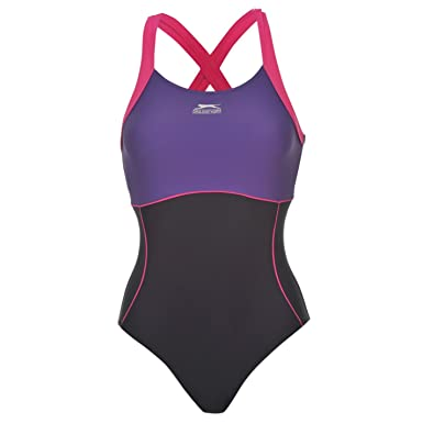 6a4d40846e6b7 Slazenger Womens X Back Swim Suit Ladies One Piece Swimsuit Beachwear  Swimwear: Amazon.co.uk: Clothing