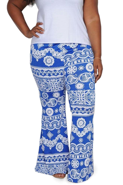 850156c1d9f 80%OFF Plus Size Juniors Teens High Waist Printed Pants Flare Leg Bell  Bottom Summer