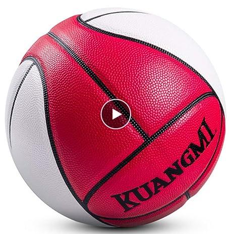 Kuangmi - Balón de Baloncesto, Talla 7, Color Rojo y Blanco ...