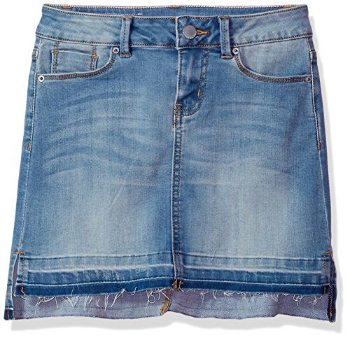 Calvin Klein Girls' Big Denim Skirt, Medium wash, 10 (Denim 4t Skirt)