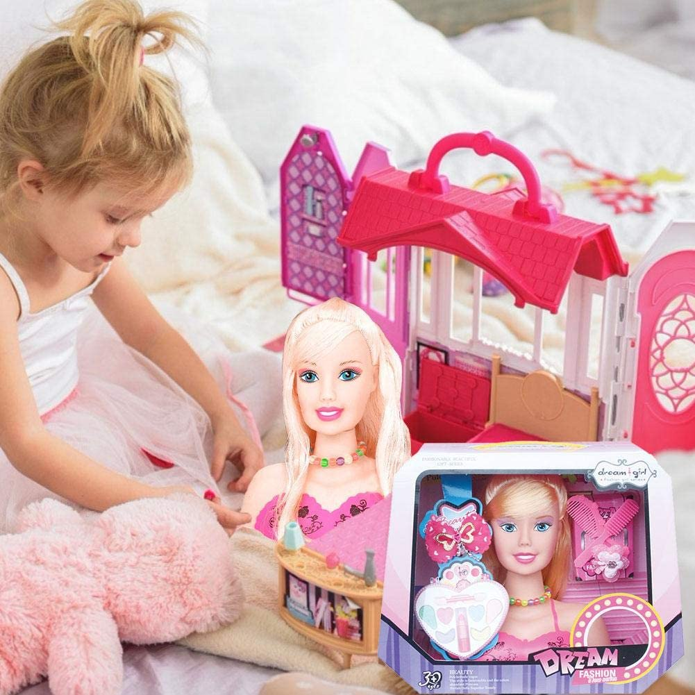 Girls Hair Styling Dolls Head Play Set With Accessories Children Gift Set Mysticall Makeup Doll Toy