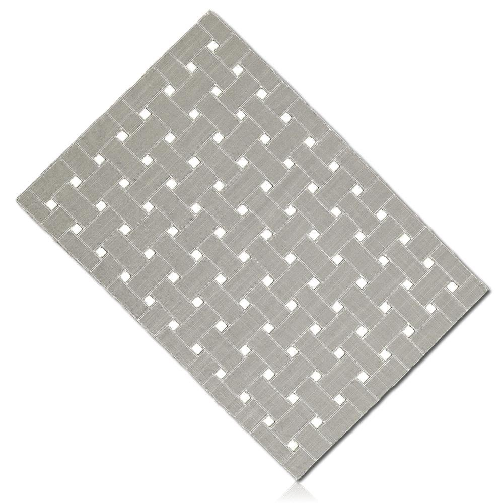 """Unique & Custom {13'' x 19'' Inch} Single Pack Rectangle """"Non-Slip Grip Texture"""" Large Reversible Table Placemat Made of Washable Flexible Polyester w/ Solid Steel Basketweave Design [Grey & White]"""