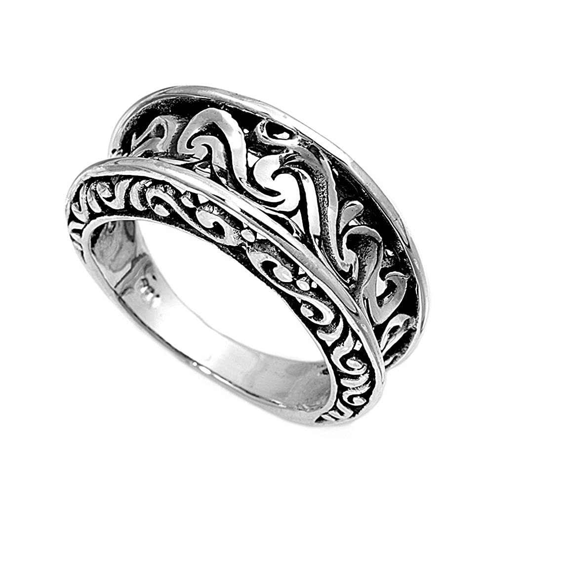 Princess Kylie 925 Sterling Silver Abstract Filigree Design Ring