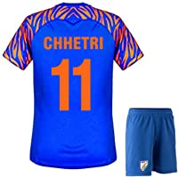 Chetri 11 Printed India Football Home Jersey 2019-2020 with Shorts/Master Quality India Football Jersey