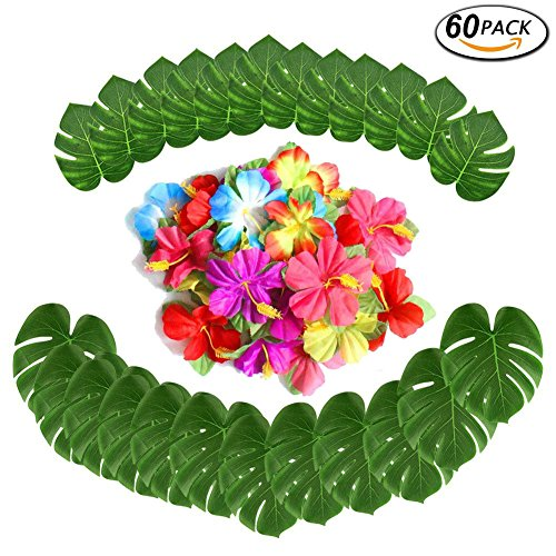 (60 Pcs Tropical Party Decoration Supplies 8