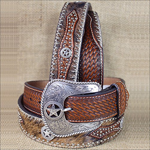 Nocona Western Belt Mens Leather Hair Star Concho 42 Brown N2506808 - Nocona Mens Concho
