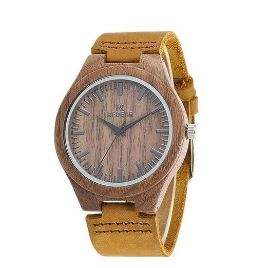 2f4f5b93f089 Qiaoqi Hombres Hecho a mano de nogal natural reloj de madera con banda de  cuero relojes de madera Reloj de madera  Amazon.es  Relojes