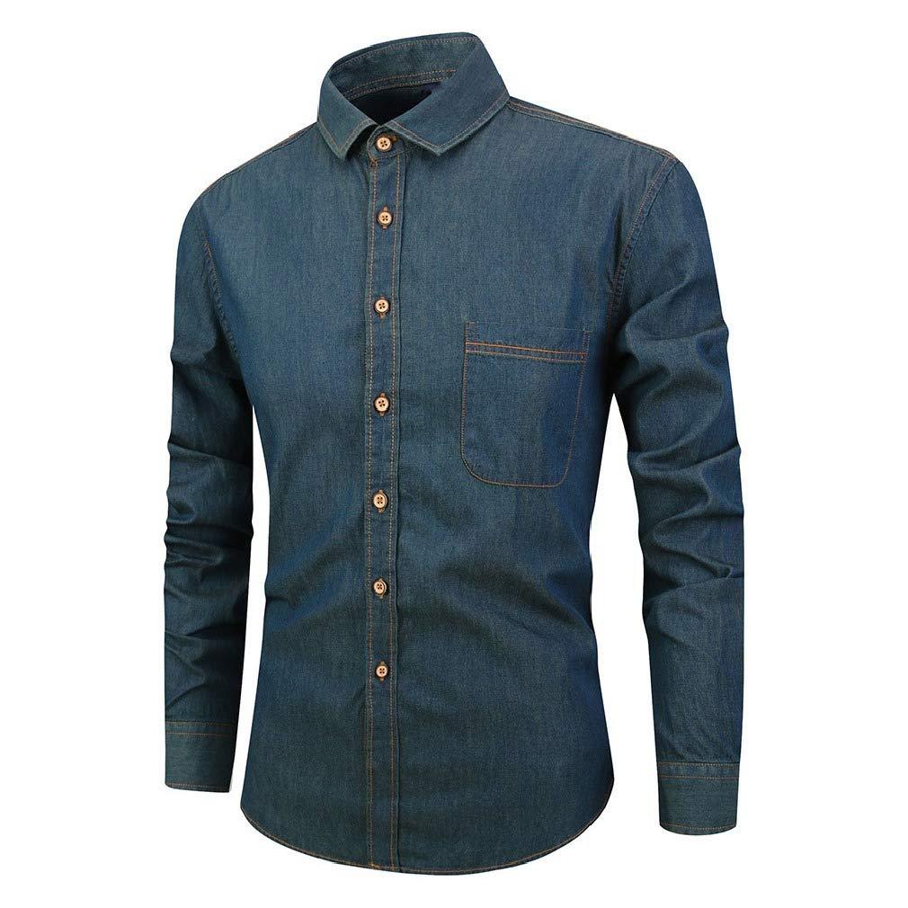 Zimaes-Men Long Sleeved Button-Up Denim Brushed Slim Fit Shirt