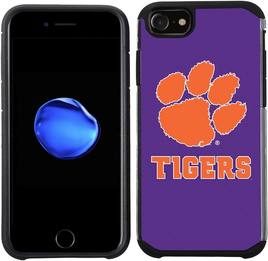 Prime Brands Group Textured Team Color Cell Phone Case for Apple iPhone 8/7/6S/6 - NCAA Licensed Clemson University Tigers (NCAA-TX1-i8-CLM)