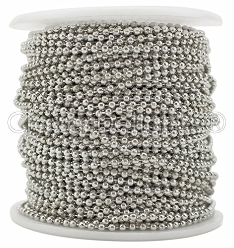 CleverDelights Ball Chain Spool - 100 Feet - 2.0mm Ball - Antique Silver (Platinum) Color - Bulk Roll