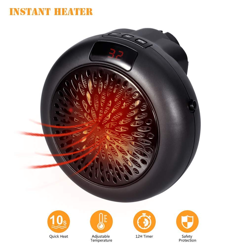 Simfonio Instaheater Personal Space Heater - Heater Mini Heater Wall Outlet Electric Heater Fan Heater with Adjustable Timer Digital Display for Home/Office/Camper (220V-240V, 1000W)