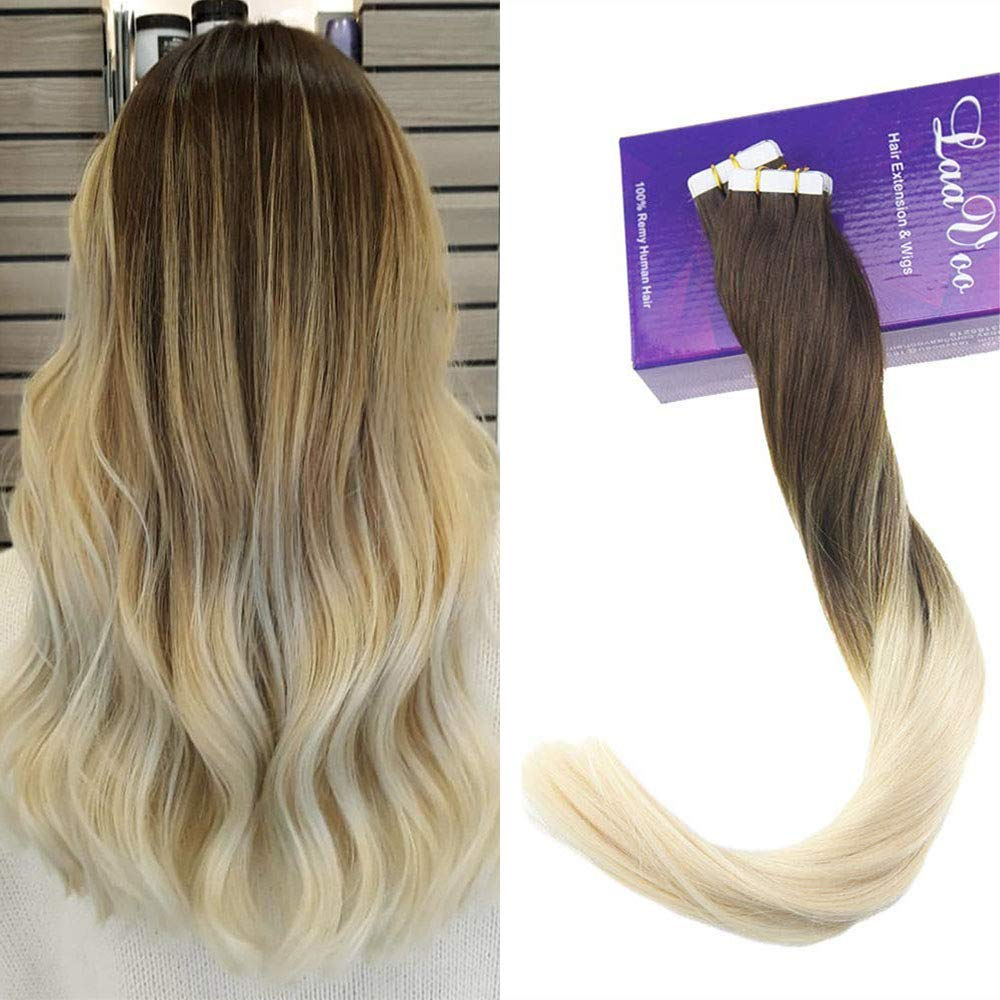 LaaVoo 22 Inch 100 Human Hair Balayage Ombre Hair Extensions Color #4 Chocolate Brown Fading to #60 Plautinum Blonde Skin Weft Tape in Hair Extensions 50g 20 Pcs Per Package by LaaVoo