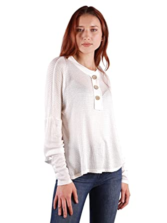 9e06958f9c9 Anna-Kaci Women's Waffle Knit Tunic Tops Loose Long Sleeve Button Up V Neck  Henley