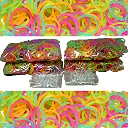 BlueDot Trading 2400-Piece Glow In The Dark Rubber Band Kids Craft with Rainbow Bracelet Kit Refill Pack