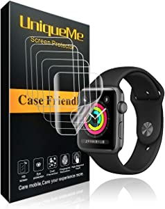 INGLE [6 Pack] for Apple Watch Series 3/2/1 Screen Protector (42mm), [Anti-Bubble] [HD Clear] Full Coverage Film