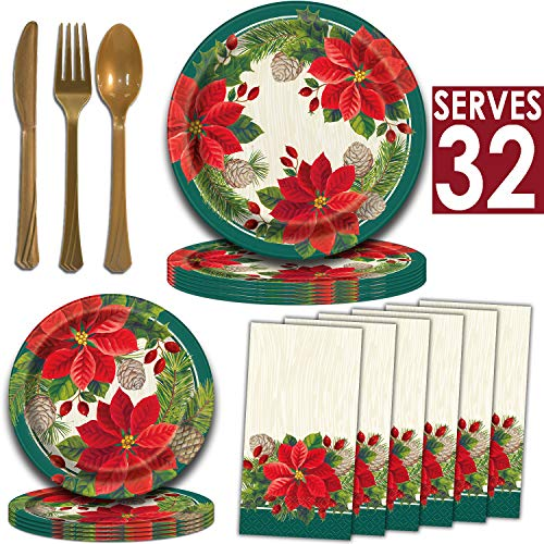 Holiday Poinsettia Dinnerware – 32 Servings – Dinner Plates, Dessert Plates, Guest Towel Napkins, Matte Gold Plastic…