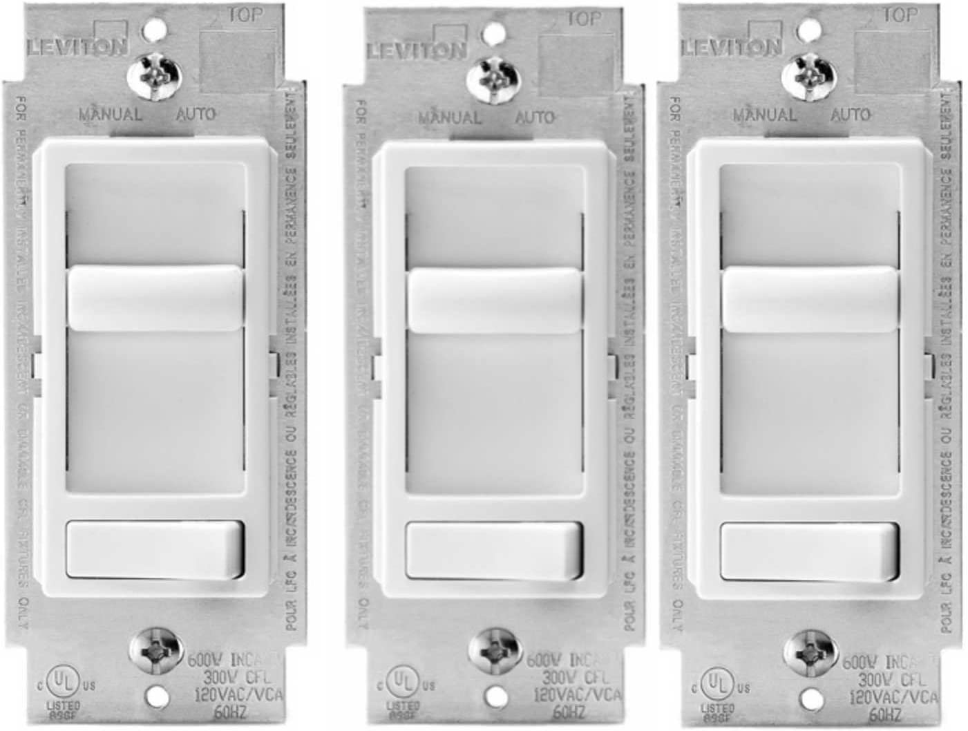 Leviton 6674-P0W SureSlide Universal 150-Watt LED and CFL/600-Watt Incandescent Dimmer, White (3 Pack)
