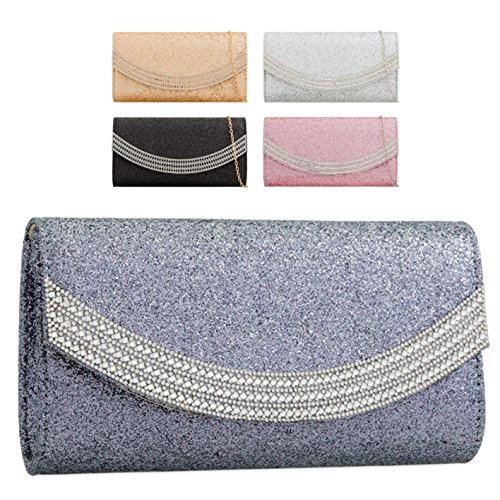 Bag Ladies Women's Envelope Handbag Clutch KZ2274 Purse Glitter Evening Gold Diamante Party Rtwrt